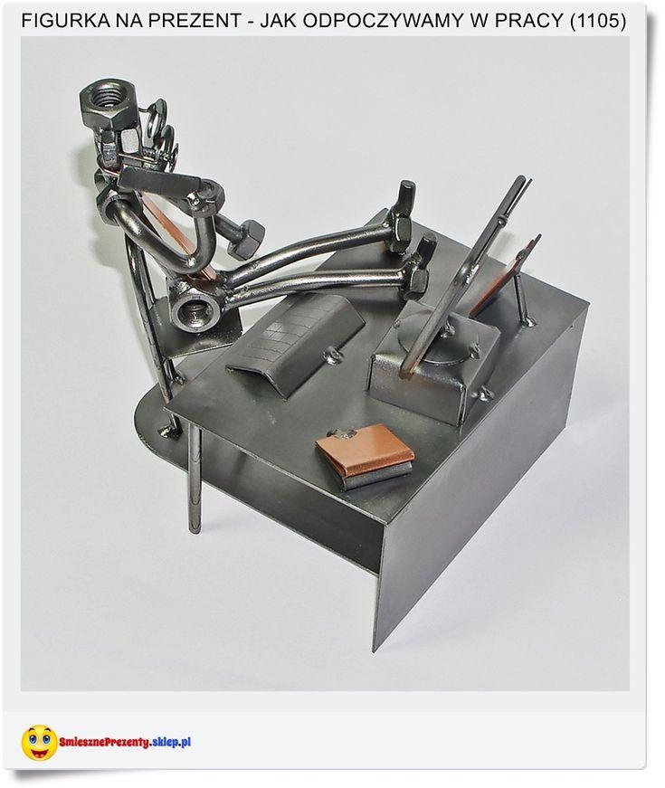 Przerwa w pracy jak odpoczywamy :-) Śmieszna figurka na prezent dla kolegi Handmade Poland