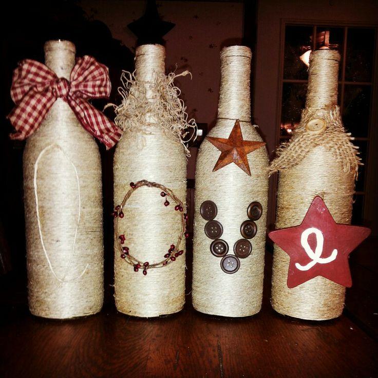 Primitive love wine bottles home pinterest for Wine bottle crafts for sale