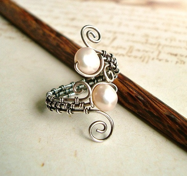 Silver Wire Weave Ring, Oxidized Sterling Silver Wire Wrapped Ring With Pale Pink Freshwater Pearls. $40.00, via Etsy.