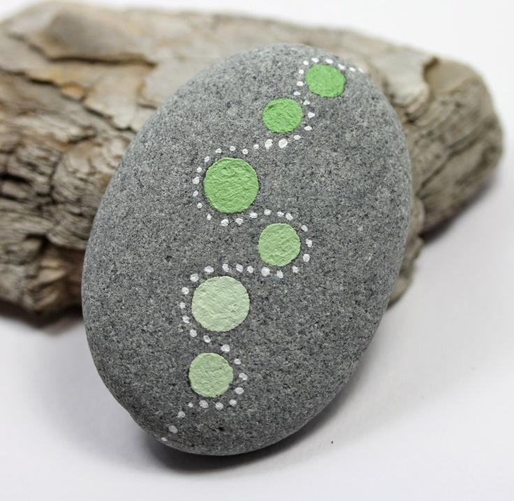 Alaska River Stone, Hand painted, Natural Stone, Miniature art. $10.00, via Etsy.