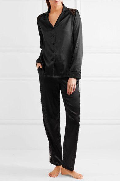 I.D. Sarrieri - Macaroon Delights Chantilly Lace-paneled Silk-blend Satin Pajama Shirt - Black - x large