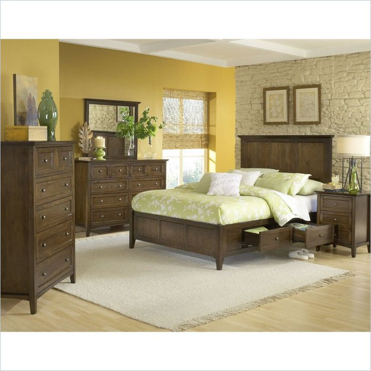 Modus Furniture Paragon Storage 5 Piece Bedroom Set In Truffle   4N35DX 5PKG