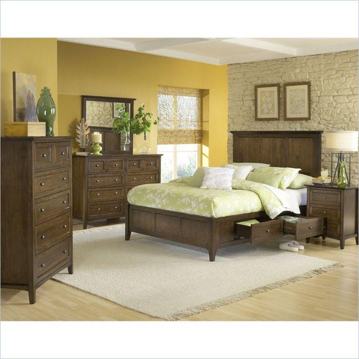 Modus Furniture Paragon Storage 5 Piece Bedroom Set In Truffle 4n35dx 5pkg