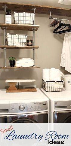 Tiny laundry room space-saving idea – hanging pipe shelves to get lots more space in this small laundry room.