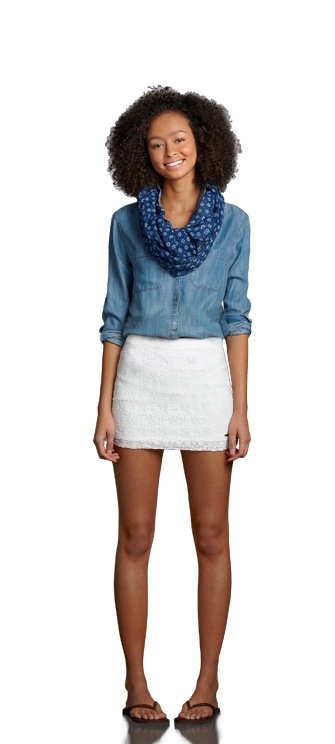 how to wear a denim shirt with a skirt