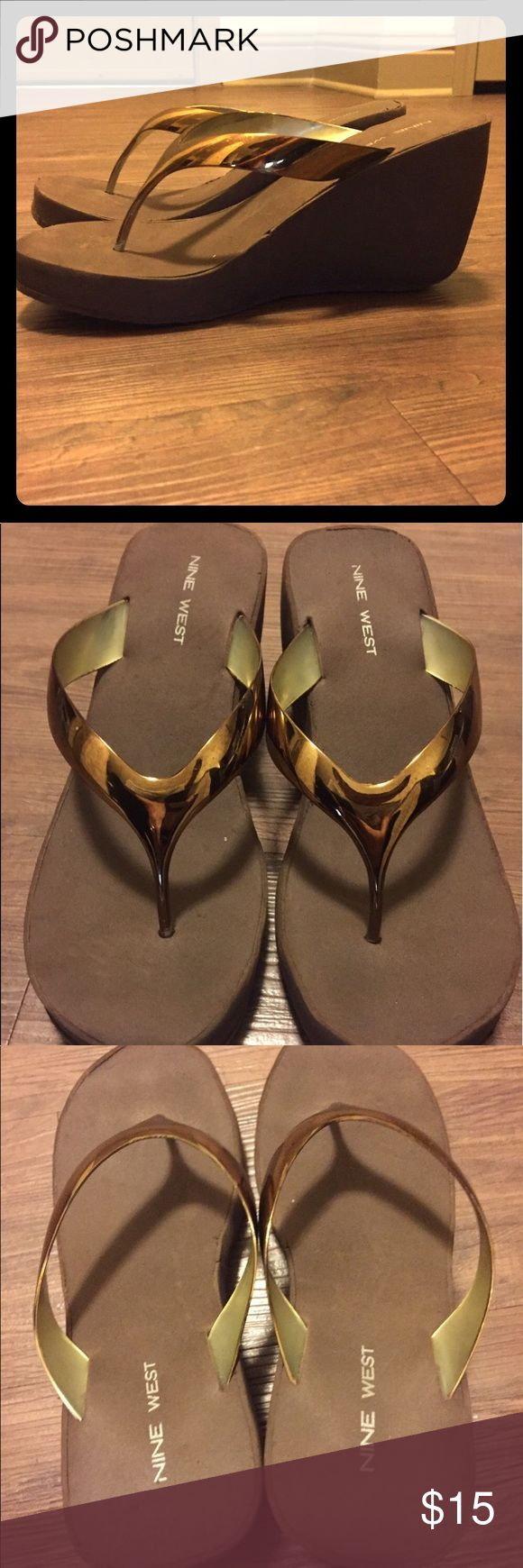 """NWOT Brown flip flops 3"""" heel New never worn by me. Brown flip flops 3"""" heel size 9. Great fit true to size. I'm 8.5 so a lil loose for me. Bought from a great Posher that said the were New. 🌟❤️ Nine West Shoes Sandals"""
