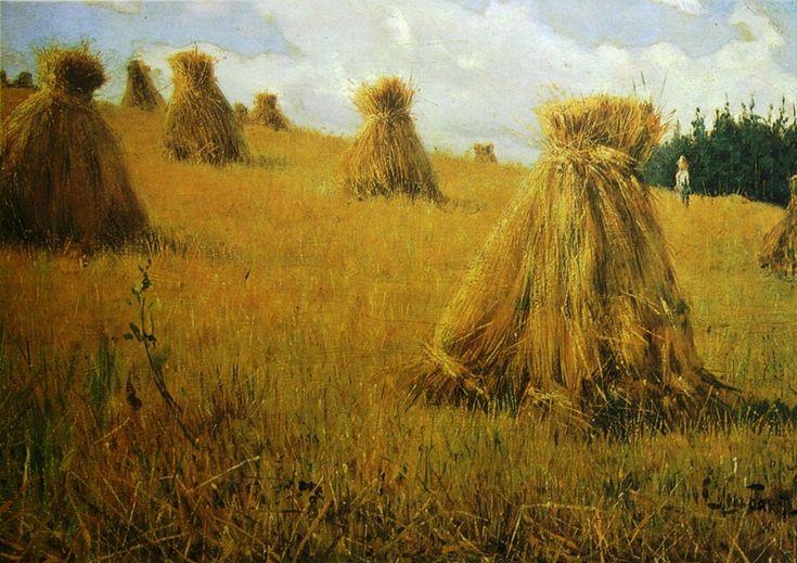 http://cultobzor.ru/2013/07/bakst-gallery/bakst1-11/ Бакст Лев «Скирды» 1891г. Фанера, масло 21х30 Государственный Русский музей.