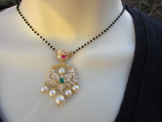 Ruby Emerald and CZ Pendant Mangalsutra Wedding by Alankaar