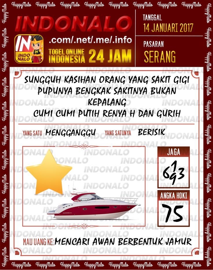 Kode Hoki 2D Togel Wap Online Live Draw 4D Indonalo Serang 14 Januari 2017