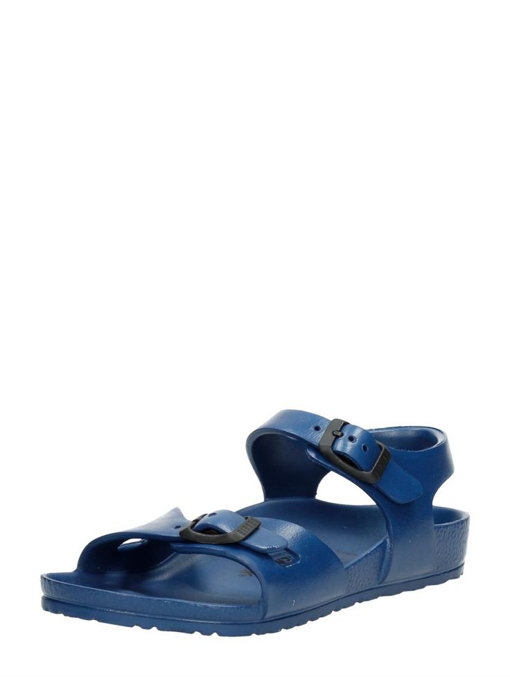These Birkenstock slippers are made of rubber and are perfect for boys who love to play in the water! | Birkenstock Rio Eva rubberen jongens sandalen - donkerblauw
