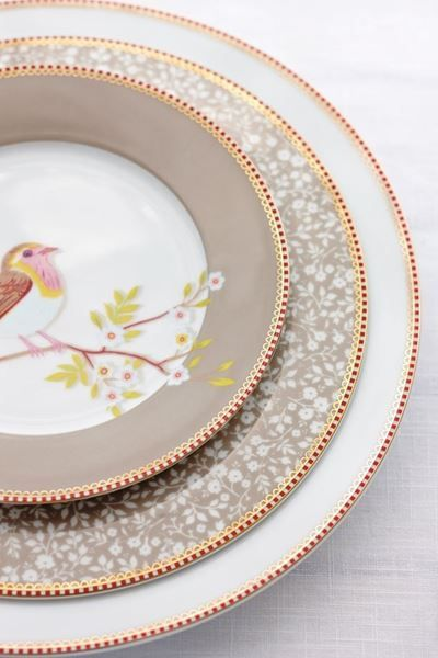 Show details for Floral breakfast plate khaki