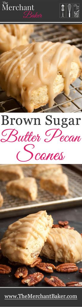 Brown Sugar Butter Pecan Scones. A dense, buttery, rich scone.  Great sprinkled with raw sugar or dipped in a sweet butterscotch glaze.