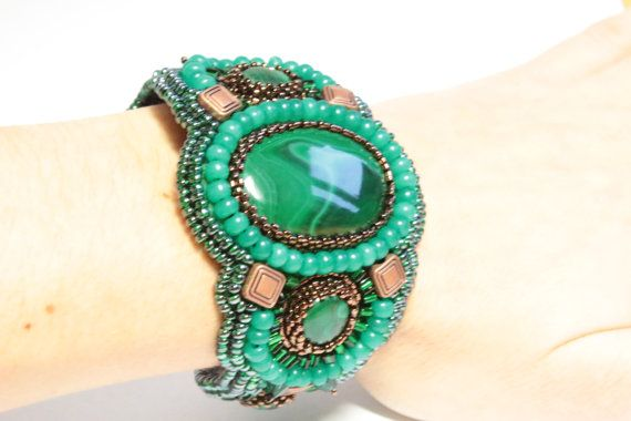 "Malachite Bracelet ""Mistress of Copper Mountain"". Bead embroidered bracelet. Handmade designer one of a kind bracelet. Green beaded bracelet on Etsy, $360.00"