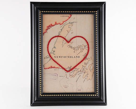 Newfoundland Hand Embroidered Heart Map Newfoundland Map