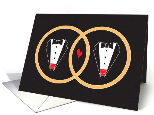 Wedding Congratulations for Gay Marriage, Tuxedos and Rings card