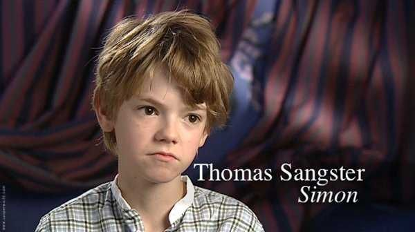 Thomas-Brodie Sangster on the set of Nanny McPhee (2005).