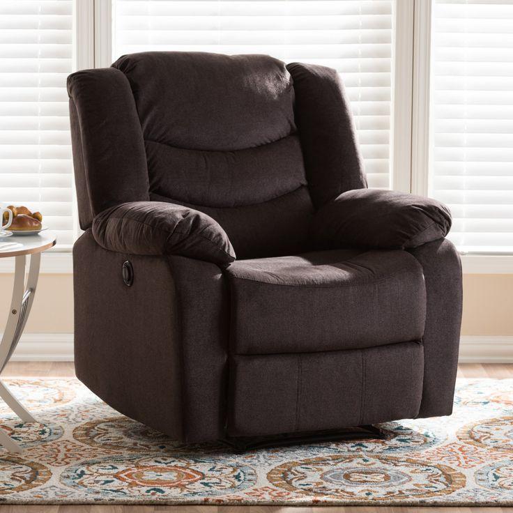 Baxton Studio Lynette Modern/Contemporary Fabric Power Recliner Chair - U1294X-GODIVA-RECLINER