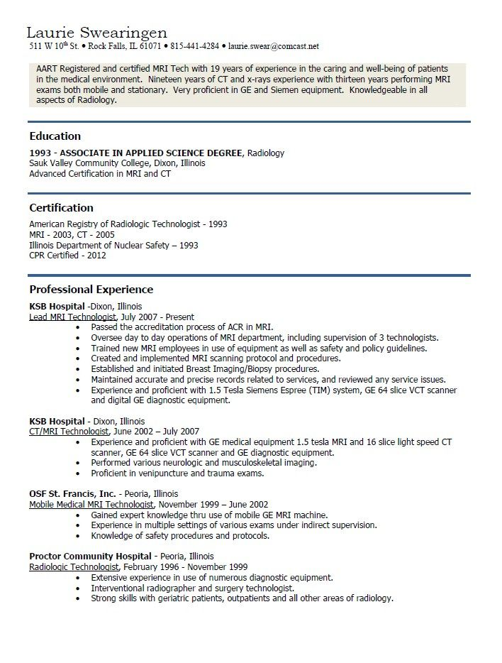 MRI Technician Resume Examples - http://resumesdesign.com/mri-technician-resume-examples/