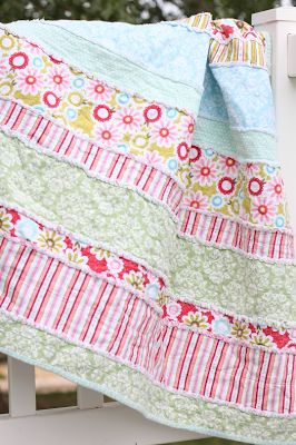 do it yourself divas: DIY: Baby Rag Quilts in Strips and Stripes Love this! Much less snipping than the all the squares! I love the edge binded also! Nice finish!