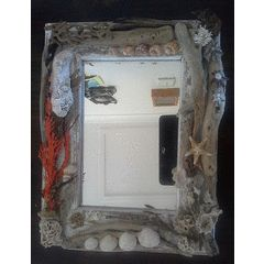 Mirror Frame with Sea Shells and drift wood - Handmade by Hanli for R250.00