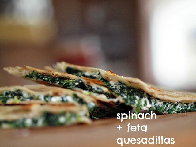 Spinach and feta quesadillas. Could use GF tortillas From Retro Mummy
