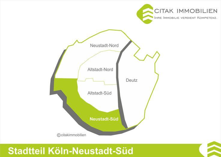 Stadtteil Köln-Neustadt-Süd Neustadt-Süd ist ein linksrheinischer Stadtteil des Bezirks Innenstadt in Köln. Er wird zur Altstadt-Süd von den Ringen, zur Neustadt-Nord von der Aachener Straße und zu den äußeren Stadtteilen durch den Inneren Grüngürtel bzw. die Eisenbahnstrecke vom Südbahnhof zur Südbrücke begrenzt.