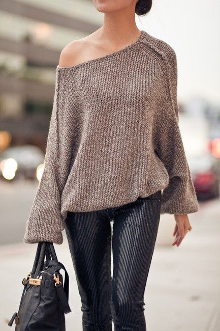 Of the shoulder sweater with leather leggings
