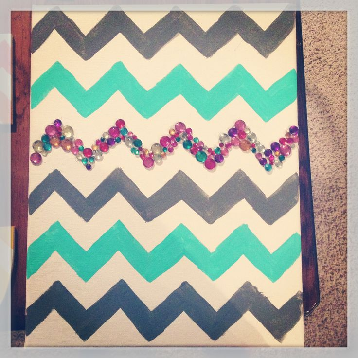 Easy chevron canvas art for the home pinterest for Easy to do canvas art