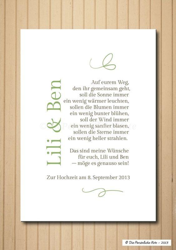 Gastgeschenke - Druck/Wandbild/Print: Segenswunsch (Hochzeit) - ein Designerstück von DiePersoenlicheNote bei DaWanda: