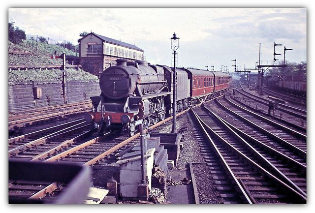 South end of Preston Railway Station May 3, 1961 (Tony Gillett) 2-6-0 No. 44767 arrives with a train from the south.