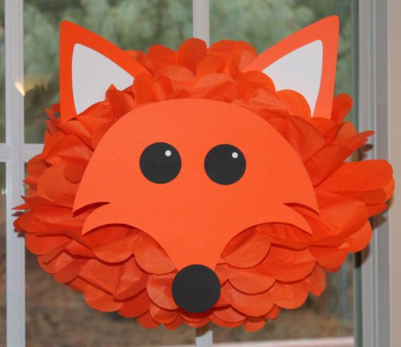 """Made this and many more animals from homemade fans for Hannah's """"What does the Fox say"""" party"""
