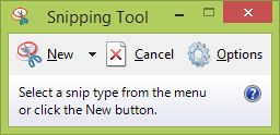 Windows 8 Snipping Tool window