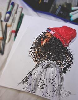 : Nature Art, Drawings, Nature Hairs Art, Curly Hairs, Dope Girls, Dope Art, Natural Hair Art, Fashion Illustrations, Black Girls