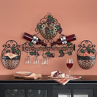 Vineyard Wall Wine Stemware Holder And Scrolled Wall Baskets From Seventh Avenue More To Match With The Kitchen