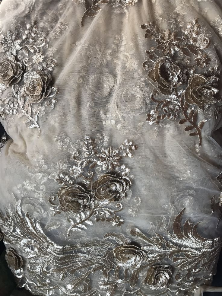 Gold floral work designer tulle perfect for sarees and dresses.