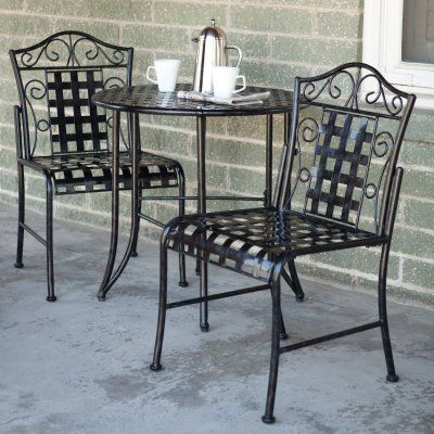 International caravan mandalay wrought iron patio bistro for Wrought iron cafe chairs