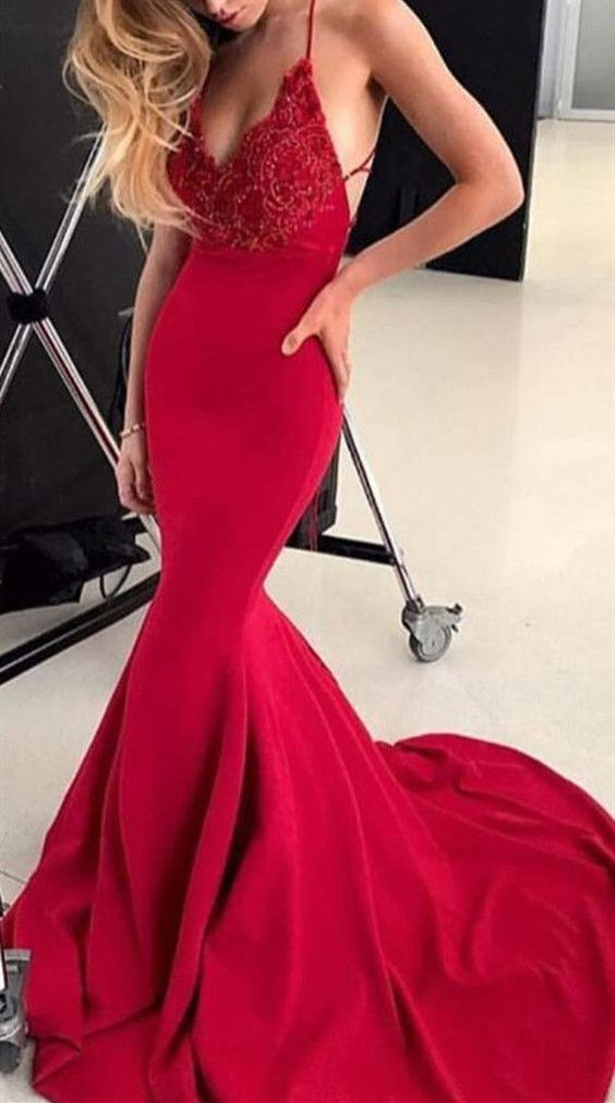 c84a39e91579 Charming Red Mermaid Prom Dresses , Sexy Beaded Long Evening Party Dress by  fancygirldress, $152.10 USD