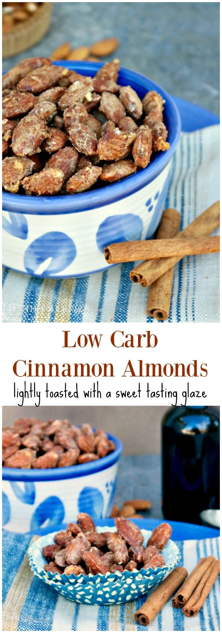Low Carb Cinnamon Almonds lightly toasted with a sweet tasting glaze. This snack is a great afternoon pick-me-up or addition to a salad. #LowCarb #SugarFree #Almonds