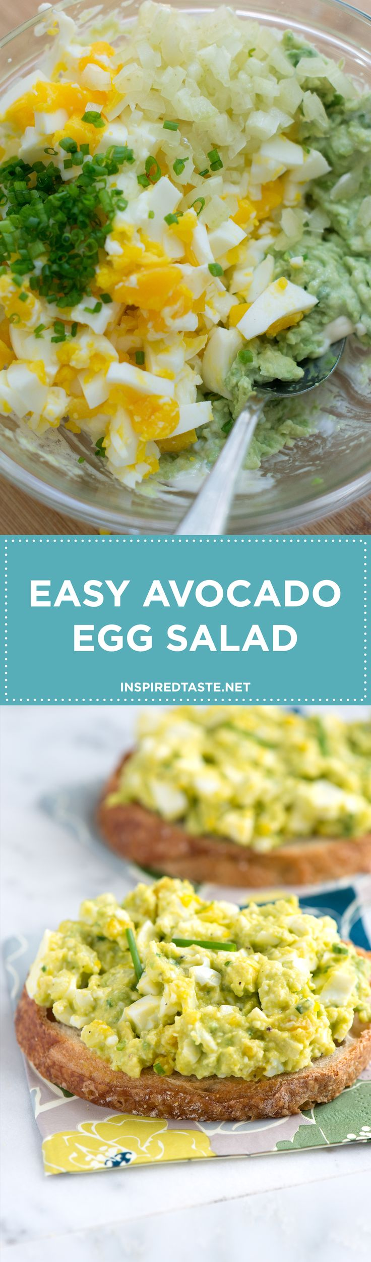 Our avocado egg salad recipe is very simple, all you need to do is mash avocado with a tiny bit of mayonnaise then stir in chopped eggs, celery, lemon juice and herbs. You could even swap nonfat or low-fat yogurt for the mayonnaise (sour cream works, too)