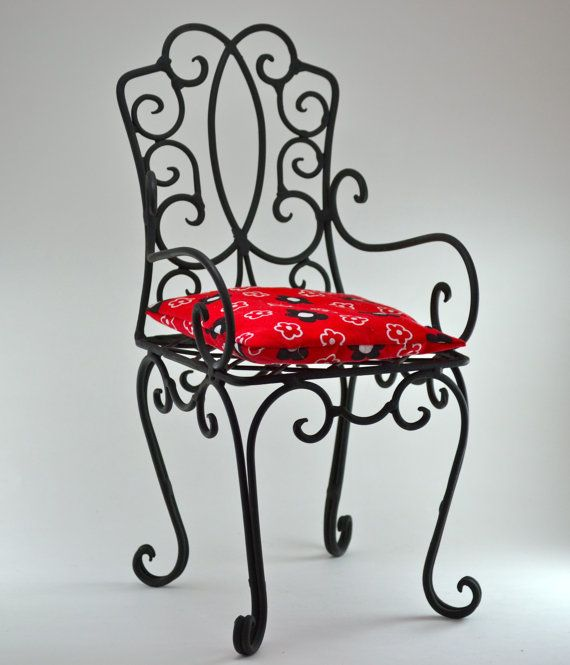 Charming Small Size Vintage Wrought Iron Chair / Shelf / Black / Handmade Metal Chair  / Red Cushion / Teddy Bear / Home Decor / Doll Chair
