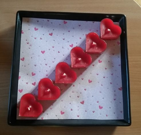 Valentine candle decoration.