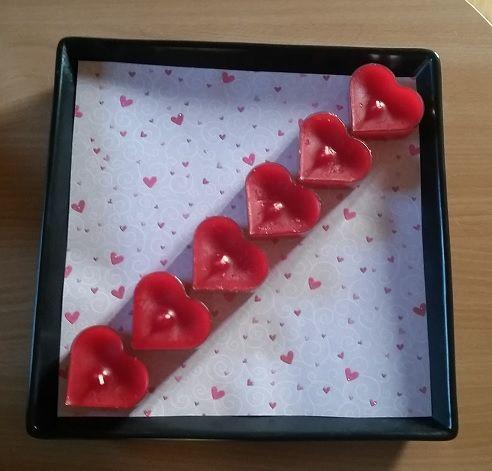 Valentine candle decoration.