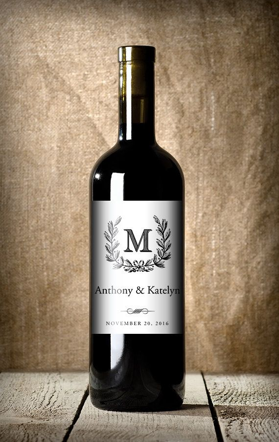 monogrammed wedding items - personalized wedding wine labels