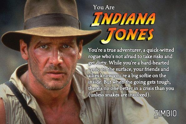 I took Zimbio's Indiana Jones quiz and I'm Indiana Jones! I was also Short Round.