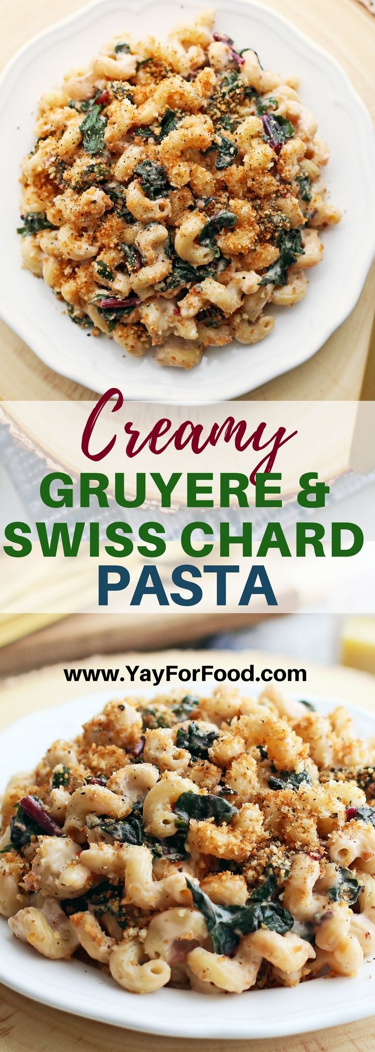 Creamy Gruyere and Swiss Chard Pasta with Toasted Panko Breadcrumbs - Comfort food alert! Check out this delicious savoury pasta dish featuring quick sautéed Swiss chard, homemade cheese sauce, and crunchy Panko breadcrumbs.