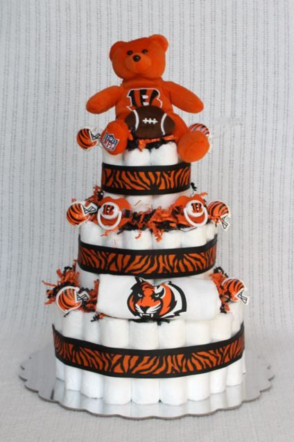 Cincinnati Bengals Diaper Cake by BabyBootyDiaperCakes