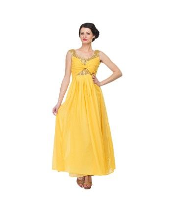 Sunshine Yellow Gold Georgette Gown  #ohnineone