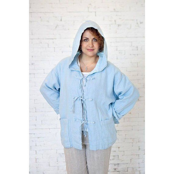 b40ecdacb3381 ON SALE Oversized Casual Jacket Stonewashed Linen Lounge Wear Romantic  Linen Jacket Hooded Linen Jac