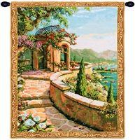 Capri Terrace Mini Belgian Wall Tapestry W-3932, 10-29Inchestall, 10-29Incheswide, 20W, 26H, Belgian, Blue, Border, Capri, Gold, Mini, Tapestry, Terrace, Vertical, Wall, Yellow, Belgianwoven, Europeanwoven, tapestries, tapestrys, hangings, and, the