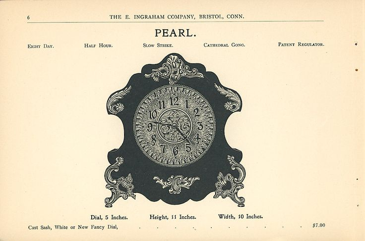 pearl clock,Clock Manufactured by The E. Ingraham Company, 1899-1900(clockhistory.com,2017)